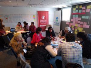 Fotografía de participantes en mesas de trabajo