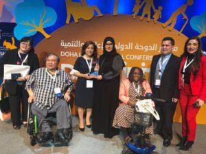 En la Fotografía: Ana Lucia Arellano junto a  Sheikha Hissa Al Thani Princesa de Qatar y varios  participantes del encuentro