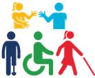Icono de 5 discapacidad:  La primera son dos personas hablando en lengua de señas, el segundo es una persona con una prótesis en la pierna izquierda, el tercero una persona usuaria de silla de ruedas y el cuarto una persona con un bastón guía