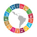Logo de el perfil de América Latina y el Caribe, y los iconos de los Objetivos de desarrollo sostenible