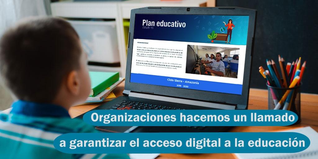 """Imagen de un niño frente a un computador portátil navegando en la página de """"Plan Educativo"""""""
