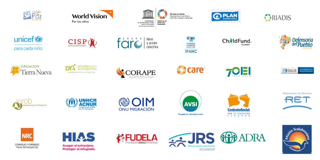 """Logos de las organizaciones que suscriben entre ellas """"RIADIS"""""""