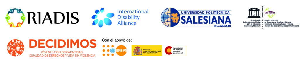 Logos: RIADIS, IDA, UPS, Cátedra UNESCO, Proyecto Decidimos, Con el apoyo de UNFPA y AECID