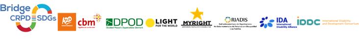 Logos de  Bridge CRPD-SDGs, ADD, CBM Global, DPOD, Light for the world, My Right, RIADIS, IDA, IDDC