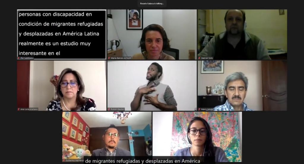 Imagen de captura de zoom del momento de lanzamiento del informe regional de Discapacidad y Movilidad Humana, con las cámaras encendidas de 7 personas y un cuadro de subtítulos